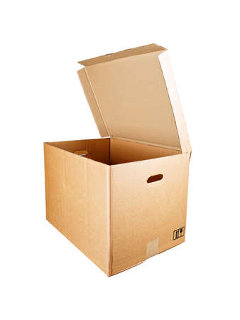 Open cardboard box with lid, on white background