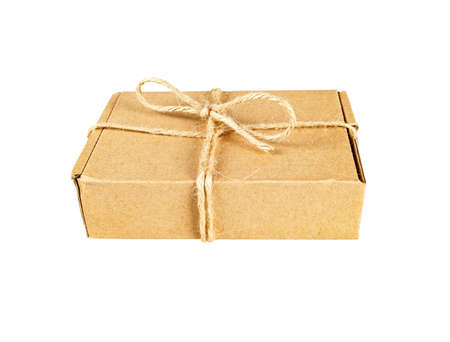 Box tied with rope, Isolated on white background. 版權商用圖片