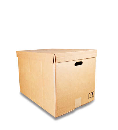 Closed box cardboard for storage, isolated on white background.