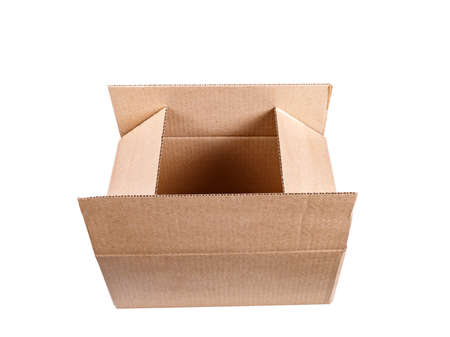 Cardboard box is open, Isolated on white background.