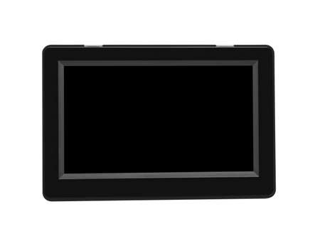 GPS device with display, off and isolated on white background with black screen.