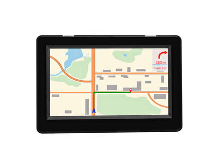 Device navigator gps, with map and laying route, isolated on white background. 版權商用圖片