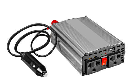 Power inverters,DC to AC from car, Isolated on white background. 版權商用圖片