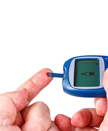 Blood for a glucometer, isolated on white background