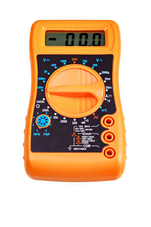 Digital multimeter with numbers, isolated on white background.