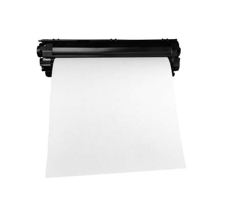 Cartridge with a sheet of paper, isolated on white background.