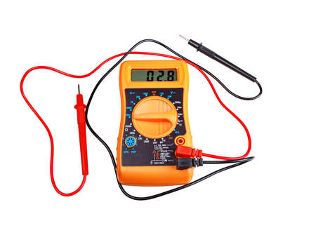 Multimeter digital with screen, isolated on white background.