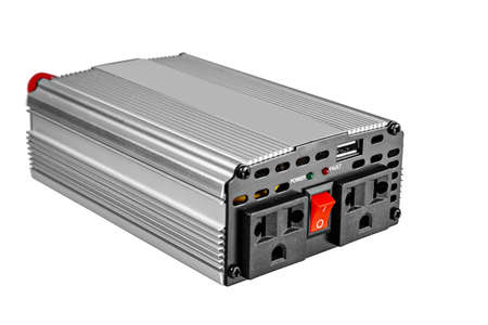 Car power inverter,dc to ac, isolated on white background.