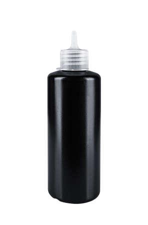 Black plastic bottle, isolated on white background.