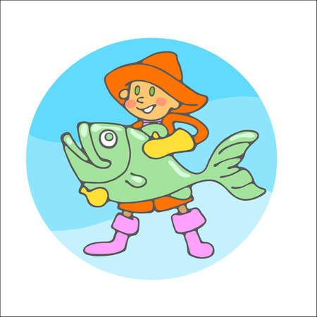 seaman: fisherman with big fish
