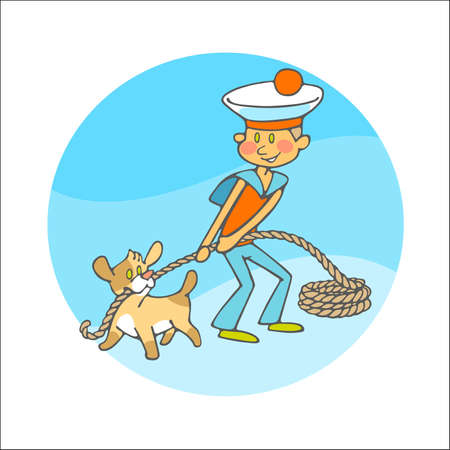 bobbin: sailor and little dog with bobbin of rope