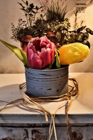 Tulips in the vase -yellow and purple flowers Zdjęcie Seryjne