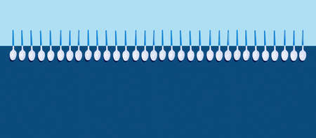 Web banner of white plastic spoons on two-toned classic blue background. Flat lay, top view, copy space. Stock fotó