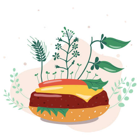 Vector illustration. Vegetable burger. Replacing animal meat to plant-based is a rational use of land resources, reducing methane emissions from cows. Иллюстрация