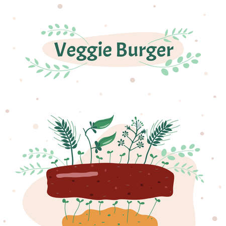 Vector illustration. Veggie meatball. Replacing animal meat to plant-based is a rational use of land resources. Иллюстрация