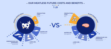 Vector illustration. Meatless future visualization. An infographic showing the difference between the production and impact on the world of a pound of animal and plant-based meat.  イラスト・ベクター素材