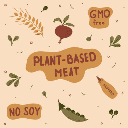 Set of hand-drawn lettering and green plants with the ingredients of plant-based meat. Vector illustration.