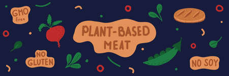 Vector illustration with the set of hand-drawn lettering, plants, and plant-based meatball. Web-banner with a blue background.