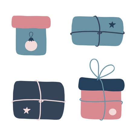 A set of Christmas vector illustrations. Hand-drawn gifts. 矢量图像