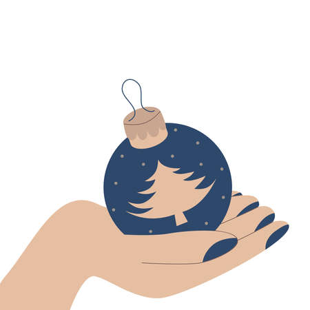 Vector illustration with a female hand with painted nails holding a Christmas blue ball with a Christmas tree.
