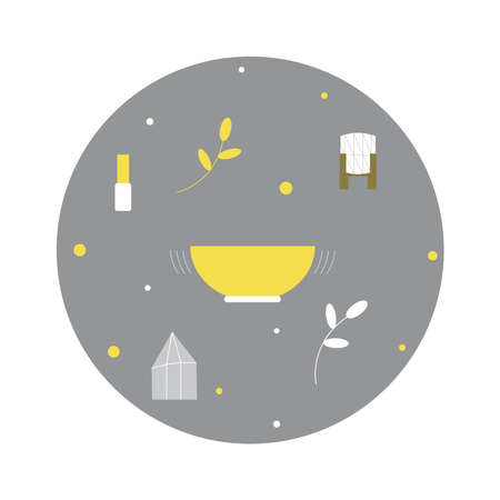 Illustration with Tibetan healing bowl, stick, flower in wooden vase and magic crystal in colors of new year: yellow and gray.