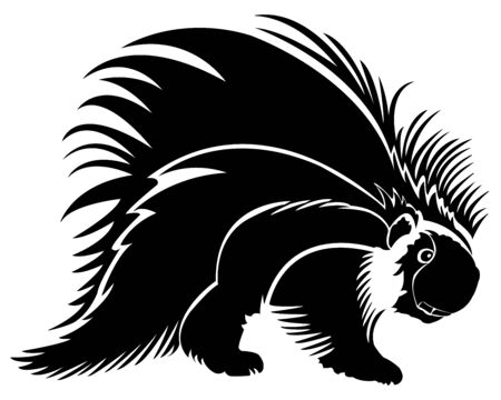 Black and white vector drawing of a porcupine on a white background.