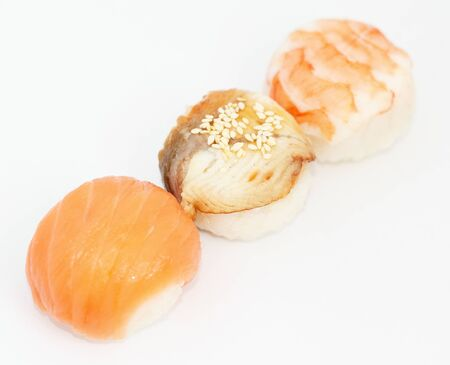 fresh roll japanese food whith seafood. flat lay.