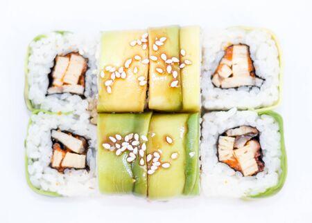 fresh roll japanese food. flat lay.