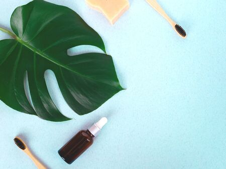 The concept of zero waste. bamboo toothbrush, solid shampoo and manstera branch. Banque d'images