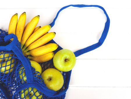 Package-free food shopping. Eco friendly natural bag with organic fruits. Zero waste concept.