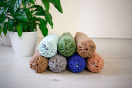 multicolored sports rollers for back and neck massage.