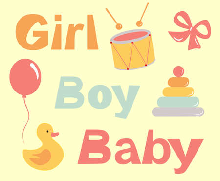 Vector image of a childs toys - a pyramid, a duck, a bubble and a drum. Early childhood character set. Attributes of early baby development  イラスト・ベクター素材