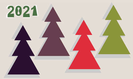 Greeting card for the new year 2021. A set of simple geometric images of firs of different colors. Vector illustration in a palette of Christmas colors
