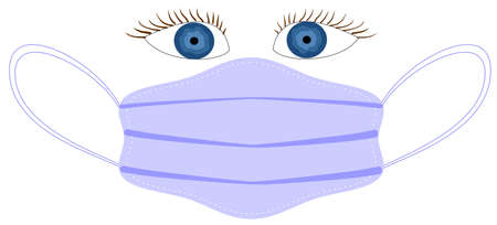 Vector image of a disposable medical mask that protects against viruses and infections, and blue eyes over the mask