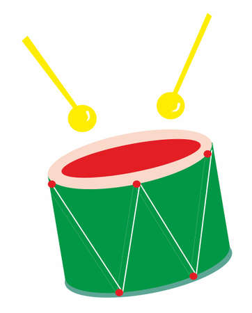 Vector image of a childs toy - green drum with yellow sticks