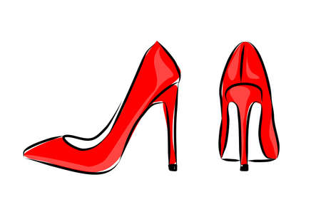 Fashionable vector illustration. Image of bright red high-heeled shoes. Quick sketch of womens shoes