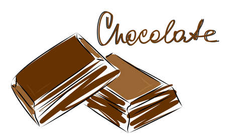 Vector image of two pieces of chocolate. Chocolate slices lie on each other. Quick sketch of sweets. Illustration with lettering