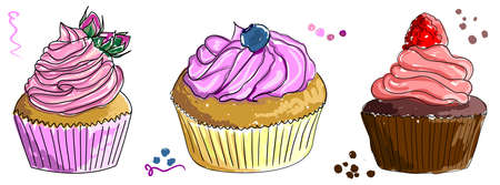 A set of images of different cupcakes with butter cream and berries on the top. Hand-drawn sketch of cakes painted as if with markers or watercolors