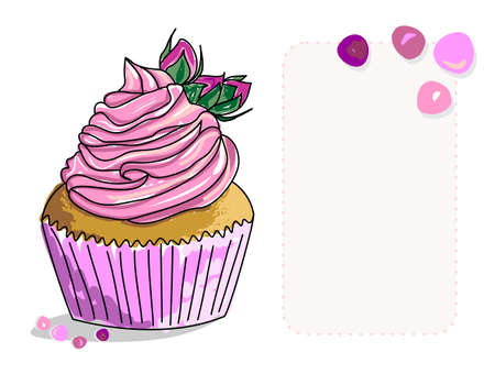 Vector image of a cupcake with butter cream and flower buds on top. A sketch of a cake painted as if with markers or watercolors. A place for lettering or congratulations. Hand-drawn illustration. 向量圖像