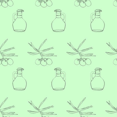 Vector seamless pattern of an olive tree sprig and a bottle of olive oil. Three olives on a branch with leaves. Glass jug of olive oil with cork. Background on the theme of cooking for kitchen decoration. Wallpaper for Italian or Greek interiors.