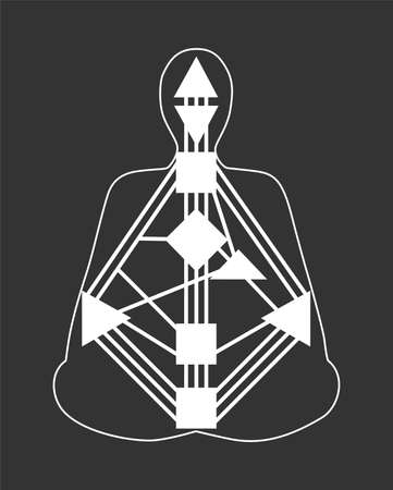 Vector image on the theme of human design. White body graph on black backgrounds.
