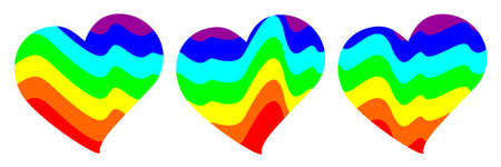Vector illustration of three hearts. Abstract image depicting mountains or sea waves in colors of rainbow. Multicolored background