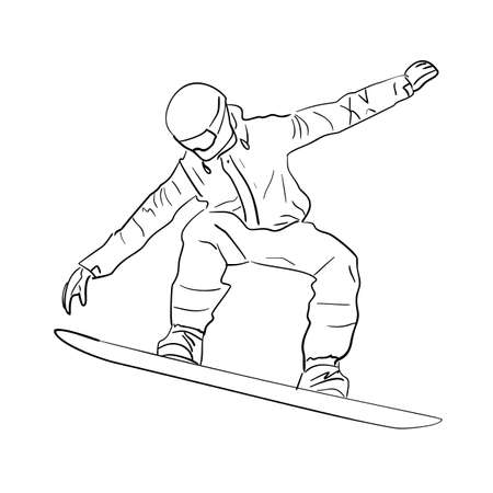 Vector image of a snowboarder. A quick sketch of an athlete who goes snowboarding in winter in the mountains. Black and white drawing of a snowboarder on a board in flight