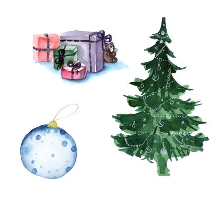 watercolour: decorations for christmas Stock Photo