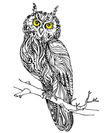 eagle owl: Vintage hand drawn doodle decorative eagle owl. sketch for adult antistress coloring page, tattoo, poster, print, t-shirt, invitation, cards, banners, flyers, calendars Illustration