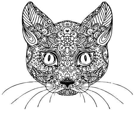 Hand drawn doodle cat. sketch for adult antistress coloring page, tattoo, poster, print, t-shirt, invitation, cards, banners,  calendars
