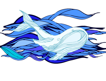 mammals: Large whale on a blue water background. sketch for tattoo, poster, print, t-shirt, invitation, cards, banners,  calendars. Most sea, ocean fish, mammals.