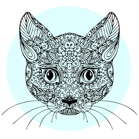 black: Hand drawn doodle cat. sketch for adult antistress coloring page, tattoo, poster, print, t-shirt, invitation, cards, banners, calendars