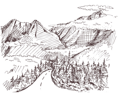mountain road: Hand drawn landscape with fir forest and mountains. vintage illustration