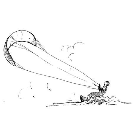 kite surfing: hand drawn ink kitesurfer on white background Illustration